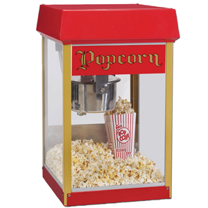 Popcorn machine: box with clear sides and a pile of popcorn inside