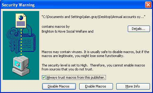Screenshot of Excel 2003 Security message