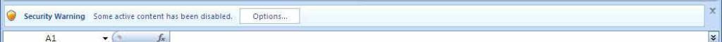 Screenshot of Excel 2007 Security message bar