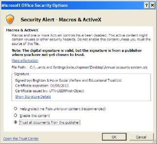 Screenshot of Excel 2007 Security message