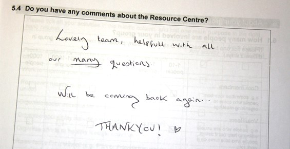 Comment on 2014 survey: Lovely team, helpful with all our many questions. Will be coming back again... Thankyou!