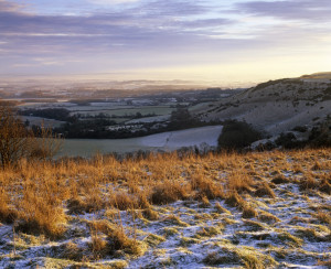 Brown grass with frost on ground in foreground, far reaching view across fields and hills, with purple and yellow sky, in background.