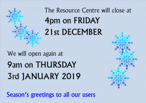 We will close for Christmas at 4pm on Friday 21st December and reopen at 9am on Thursday 3rd January
